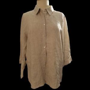 Liz Claiborne Linen Button Down Shirt Sz L
